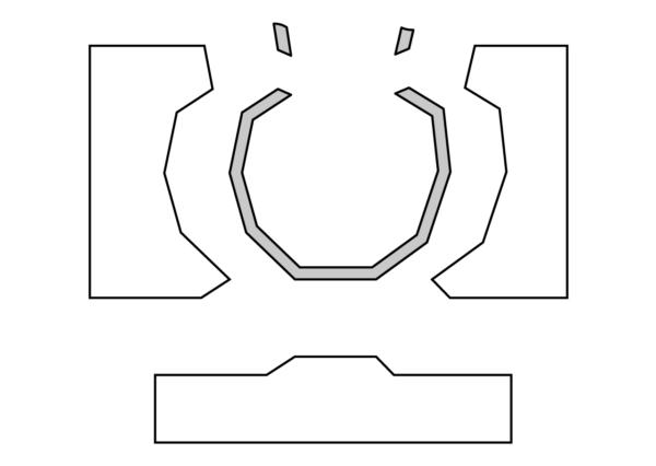 3つに分かれる石膏型